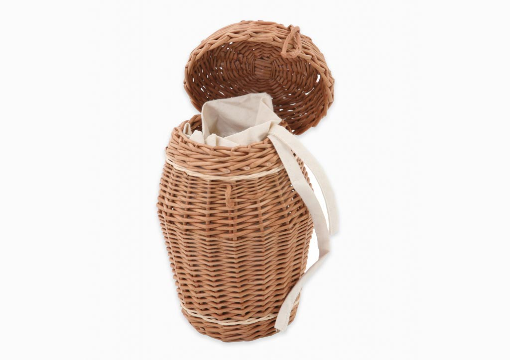 Ashes urn in buff willow inlaid with cream bands with cotton intertor