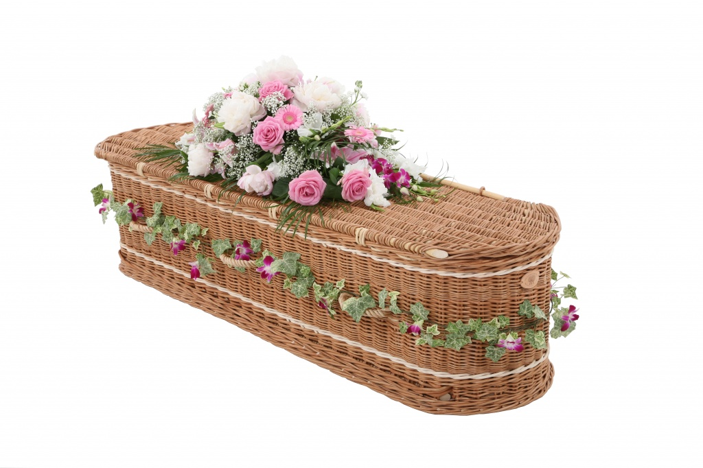 Curved end coffin in buff willow and inliad with cream bands and buff willow handles