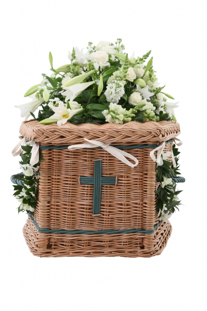 Traditional shape coffin in buff willow and inlaid with green bands and handles with green cross
