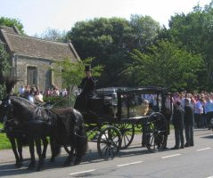 Black Horse Drawn Hearse with Matching Black Horses